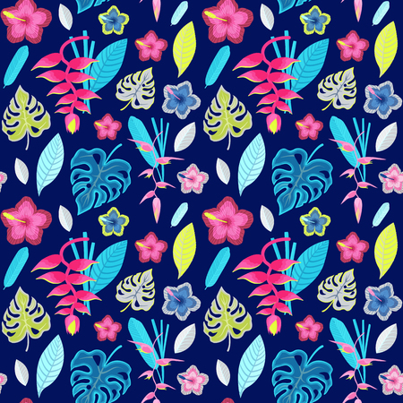 Summer tropical pattern with rainforest plants. Exotic leaves and flowers seamless background with orchid branches and tropic leaf. Vintage botanical illustration Hawaiian paradise flora.  イラスト・ベクター素材