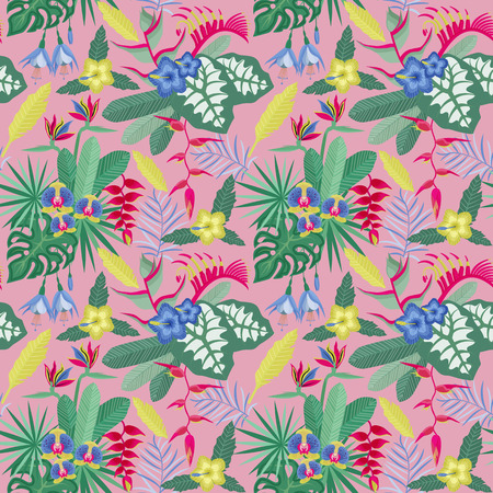 Summer tropical pattern with rainforest plants. Exotic leaves and flowers seamless background with orchid branches. Vintage botanical illustration Hawaiian paradise flora.