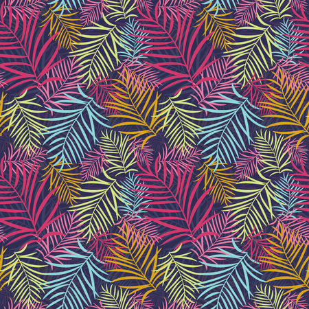 Tropical leaves pattern with palm tree branches and banana leaf. Summer exotic rainforest leaves seamless background with jungle Hawaii plants.
