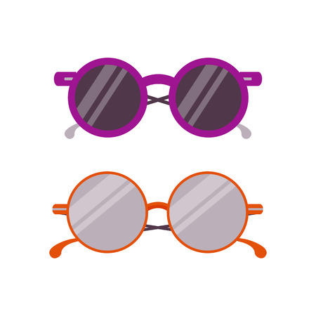 Woman summer sunglasses icon. Man and girl circle glasses in flat design. Hipster trendy eyeglasses.