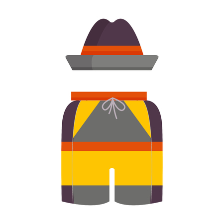 Man summer hat and shorts icon. Male beach clothing sunhat and briefs.