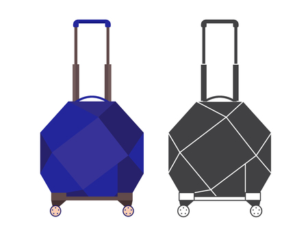 Modern blue travel suitcase with polygons. Carry on luggage or baggage for trips. Wheeled travel bag with handle icon.