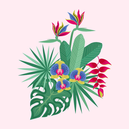Tropical flower bouquet with orchid, coconut palm, monstera and other exotic plants and leaves.