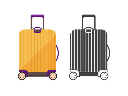 Modern yellow travel suitcase. Carry on luggage or baggage for trips. Wheeled travel bag with handle icon.