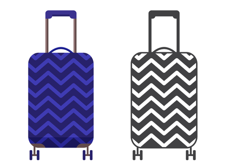 Modern blue travel suitcase. Carry on luggage or baggage for trips. Wheeled travel bag with handle icon.