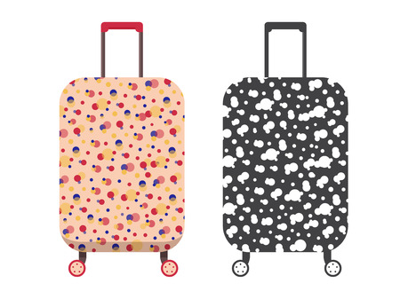 Woman travel suitcase. Carry on luggage or baggage for trips. Wheeled travel bag with handle icon.