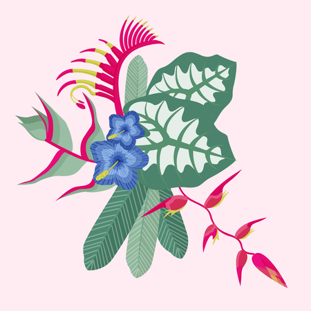 Tropical flower bouquet with orchid, palm leaf, monstera and other exotic leaves and plants.  イラスト・ベクター素材
