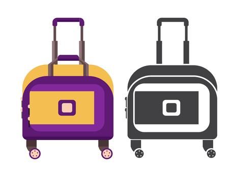 Small yellow travel suitcase. Carry on luggage or baggage for trips. Wheeled travel bag with handle icon.  イラスト・ベクター素材