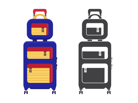 Modern travel suitcase. Carry on luggage or baggage for trips. Wheeled travel bag with handle icon.