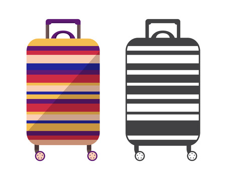 Modern striped travel suitcase. Carry on luggage or baggage for trips. Wheeled travel bag with handle icon.  イラスト・ベクター素材
