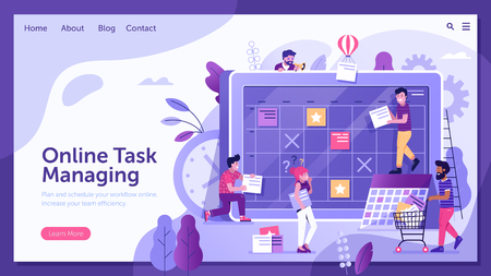 Online task managing concept with scrum board and creative team making agile online calendar and schedule. Work time control and strategic planning methodology using task board landing page template.