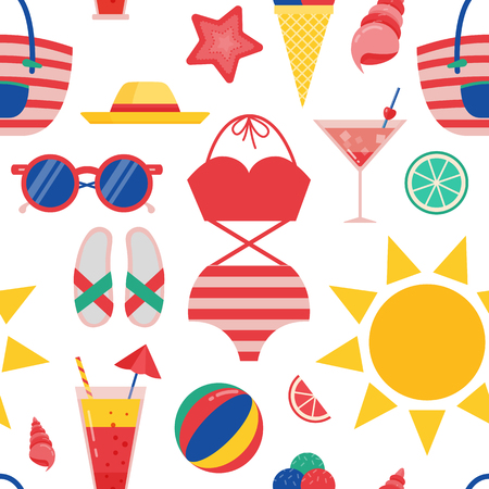 Summer beach pattern for wrapping paper and print on textile or fabric. wrapping paper and print on textile or fabric. Sea vacation seamless background with bathing suit, bag, flip-flops and shells.