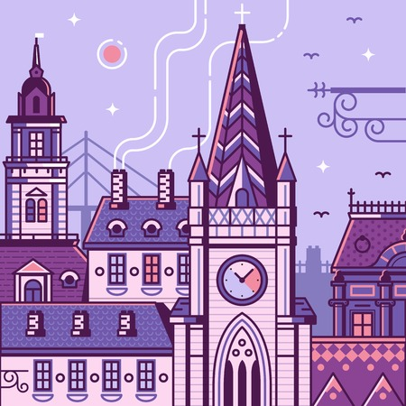 Novi Sad cityscape with famous landmarks Mary church, City Hall and Old Town buildings. Serbian province Vojvodina main city vector illustration in line art. Europe capital of culture 2021.  イラスト・ベクター素材
