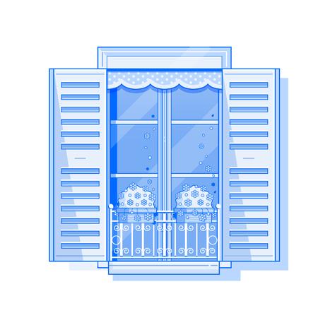 Traditionelles Europa-Fenster mit Fensterläden und Blumen in Töpfen. Vintage Fensterläden Symbol in Strichzeichnungen. Romantischer französischer Balkon mit Geranien Illustration. Bearbeitbare Striche. Vektorgrafik