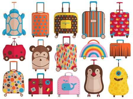 Kids carry on hand luggage, travel bags and childish cute baggage for trips collection. Printed rolling suitcases for children. Wheeled child spinner bags with handles and handbags for family trip.
