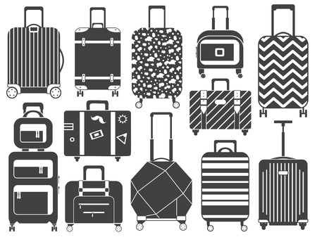 Carry on luggage, travel bags and baggage for trips outline collection. Monochrome printed suitcases. Wheeled spinner bags with handles and handbags for journey and vacation icons.
