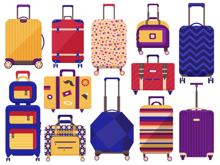 Carry on luggage, travel bags and baggage for trips collection. Colored cartoon printed suitcases. Wheeled spinner bags with handles and handbags for journey and vacation icons.
