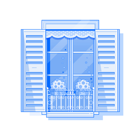 Traditional europe window with shutters and flowers in pots. Vintage shuttered window icon in line art. Romantic french balcony with geraniums Illustration. Editable strokes. Stock Photo