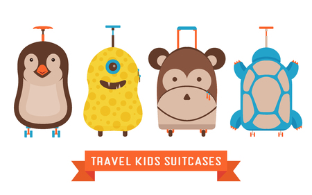 Travel kids suitcases icons. Children luggage with animal faces, such as monkey, penguin, monster and turtle. Traveling bags for child in childish cartoon style.