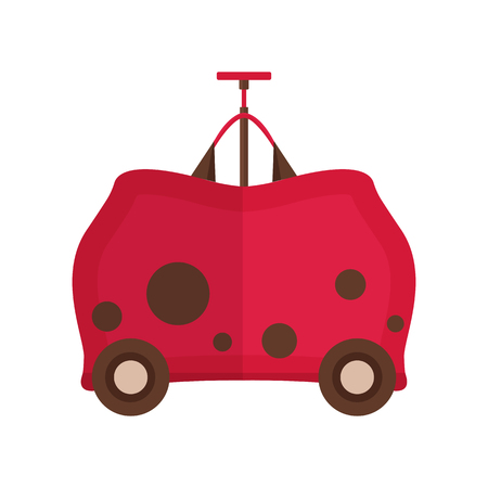 Travel kids suitcase icon. Children luggage in childish cartoon style. Red traveling bag for child .
