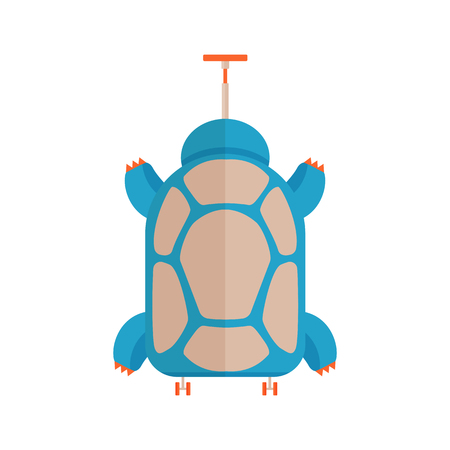 Travel kids suitcase icon. Children luggage in turtle shape. Animal traveling bag for child in childish cartoon style.