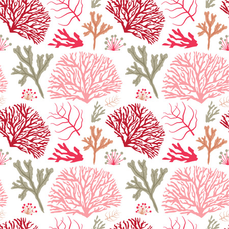 Sea coral pattern. Underwater plants seamless background with seaweeds and kelp.