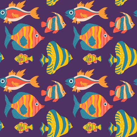 Coral reef fauna pattern with colorful tropical fishes. Ocean underwater animals, tropical aquatic life seamless background with angelfish and clown fish for prints, fabric and wrapping paper. Stock Photo