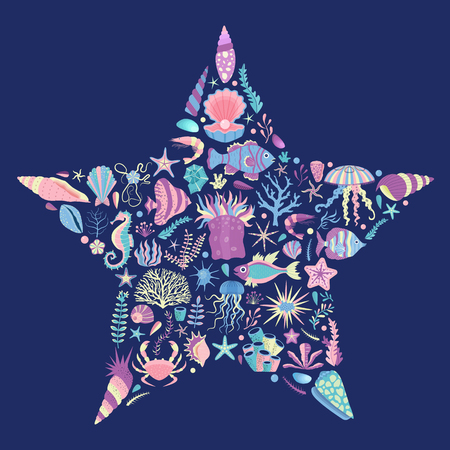 Underwater sea life t-shirt print in star shape with algae, corals, fishes, clams, shells and medusas. Ocean coral reef animals and plants. Tropical marine creatures of undersea world.