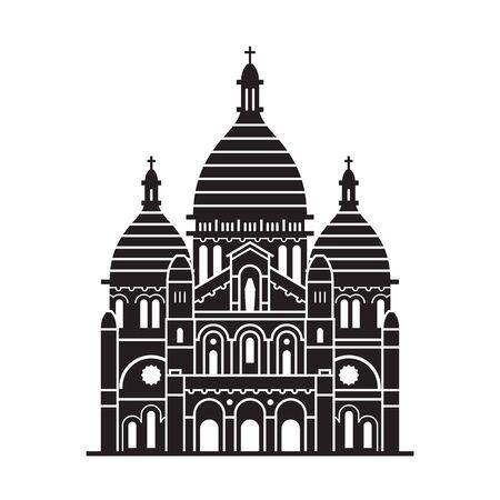 Travel Paris landmark icon. Sacre Coeur church tourist attraction in capital of France. Outline Basilica of Sacred Heart of Paris emblem template.