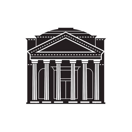 Travel Rome landmark icon. Parthenon is one of the famous architectural tourist attractions in capital of Italy. Ancient column temple. 일러스트