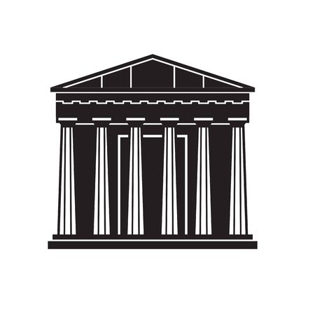Travel Athens landmark icon. Parthenon is one of famous architectural tourist attractions in capital of Greece. Outline ancient column template.