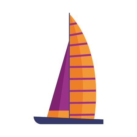 Sail ship in flat design. Marine yacht icon. Cartoon striped yellow sailboat. 写真素材