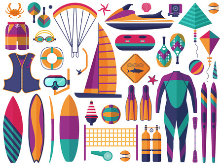 Water sports icons set. Sea summer activity and beach sport games elements. Windsurfing, jet skiing, scuba diving and other sea activities.