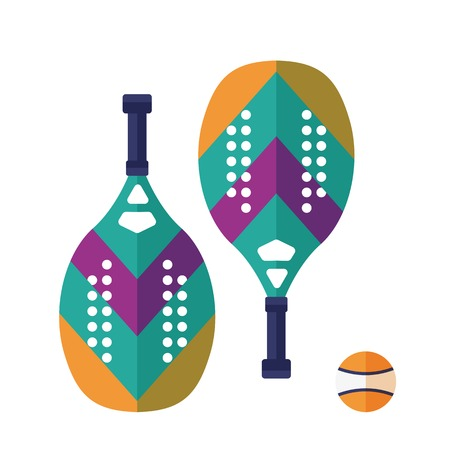Beach and paddle tennis icons. Colorful rackets pair and ball isolated on white background. Summer beach sport and activities equipment in flat design. 写真素材