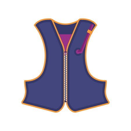 Lifejacket icon in flat design. Boat swimming life vest vector illustration.
