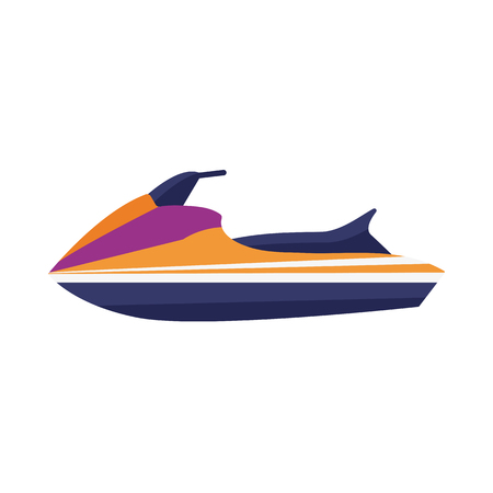 Water jet ski scooter boat icon in flat design. Sea bike isolated on white background. Water-sport boatercycle vehicle.