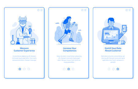 Web marketing and advertising onboarding mobile app page screens. Customer experience research, increasing competences and building customer database UI concepts with people for online business. Zdjęcie Seryjne