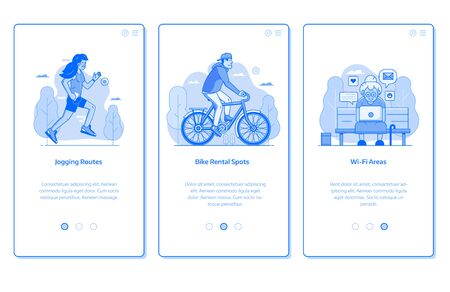 City public park onboarding mobile app page screens with bike rentals, wifi zone and jogging routes scenes. Modern citizens activities UI concepts with people characters in line art.