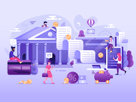 Digital transaction UI illustration with flat people characters doing web money transfers and deposits. Online bank payment wire transaction and cashback concept. Save money technology processing.
