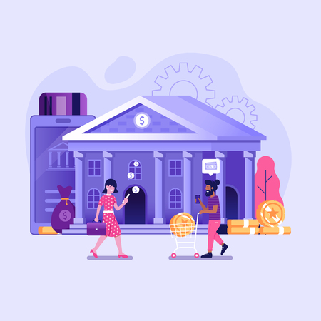 Online banking UI illustration with office people characters doing internet payments, transfers and deposits. Digital bank service fintech concept in flat design. Control money technology processing.