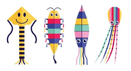 Flat childish flying wind kites set with tales, ribbons and ornaments. Children funny kite balloons of different types and shapes. Such as octopus, squid and caterpillar.