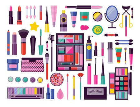 Face make up tools icon set. Beauty products and makeup kit for eyes, skin and lips. Cosmetic stuff and accessories with toiletry bag, palettes, mascara, brushes, mirror and eyelashes curling tongs.