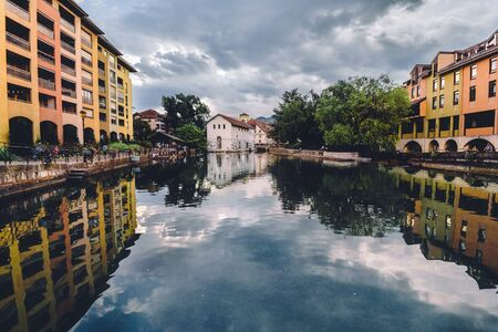 Thiou River and Annecy Town with Reflections