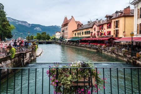 Annecy Old Town and Alps from Bridge