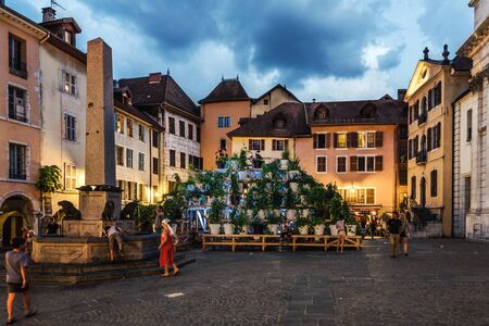 Evening View of Notre-Dame Place in Annecy