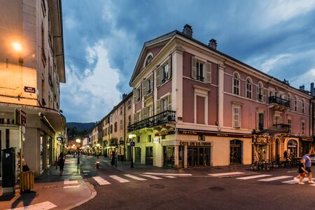 Annecy Old Town Street View in Evening 에디토리얼