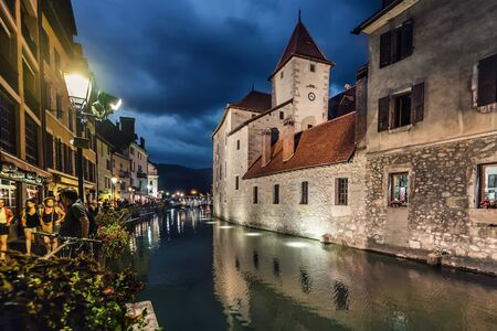 Annecy Thiou River with Castle in Evening