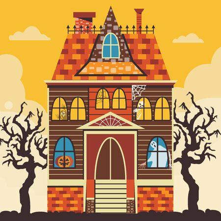 Creepy Halloween Haunted House Scene Card Template