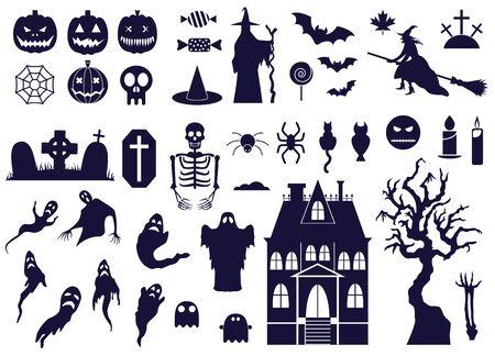 Halloween Design Elements Set with BW Icons Archivio Fotografico - 128201038