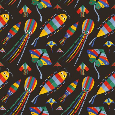 Seamless Pattern with Colorful Cartoon Flying Kites Иллюстрация